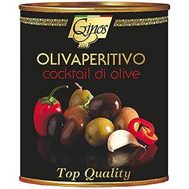 Ginos, Olivaperitivo, Cocktail di Olive in olio girasole, etichetta nera