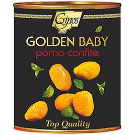"Ginos, Pomodorini Pelati gialli dal Fresco ""Golden Baby"" in olio girasole, etichetta nera"