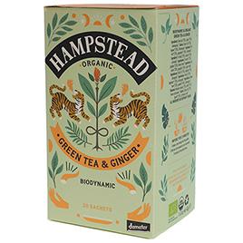 Hampstead Tea, Green Tea Zesty Ginger DEM BIO